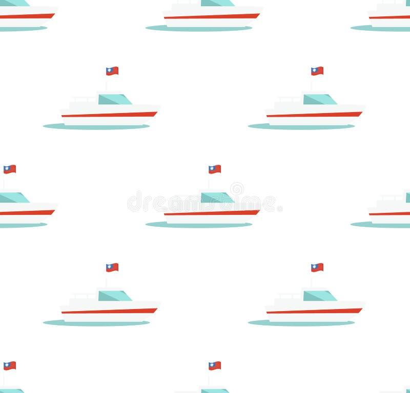 Modello senza cuciture con l'icona dell'yacht isolata su bianco illustrazione vettoriale