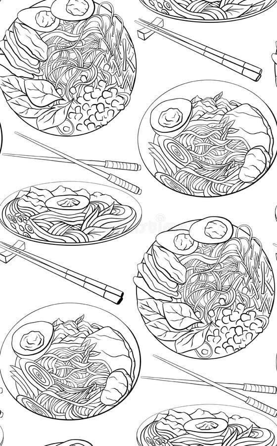 Modello senza cuciture con l'illustrazione in bianco e nero del fumetto di contorno del ramen negli angoli differenti tagliatelle illustrazione di stock