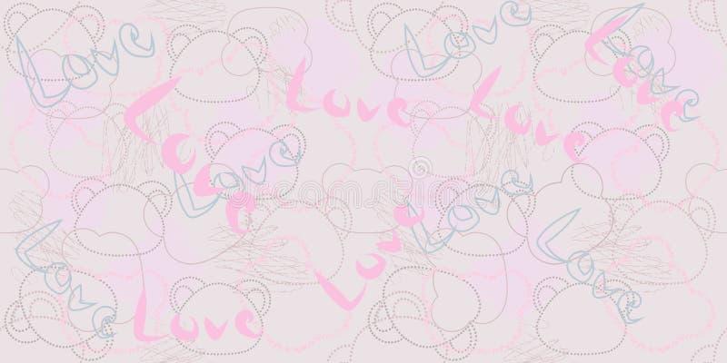 Modello senza cuciture con l'illustrazione degli orsi Rosa, iscrizione di amore royalty illustrazione gratis