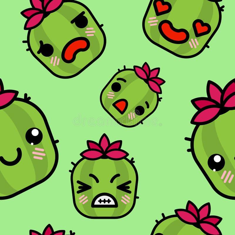 Modello senza cuciture con l'illustrazione sveglia del fumetto di vettore dei cactus di emoji di kawaii royalty illustrazione gratis