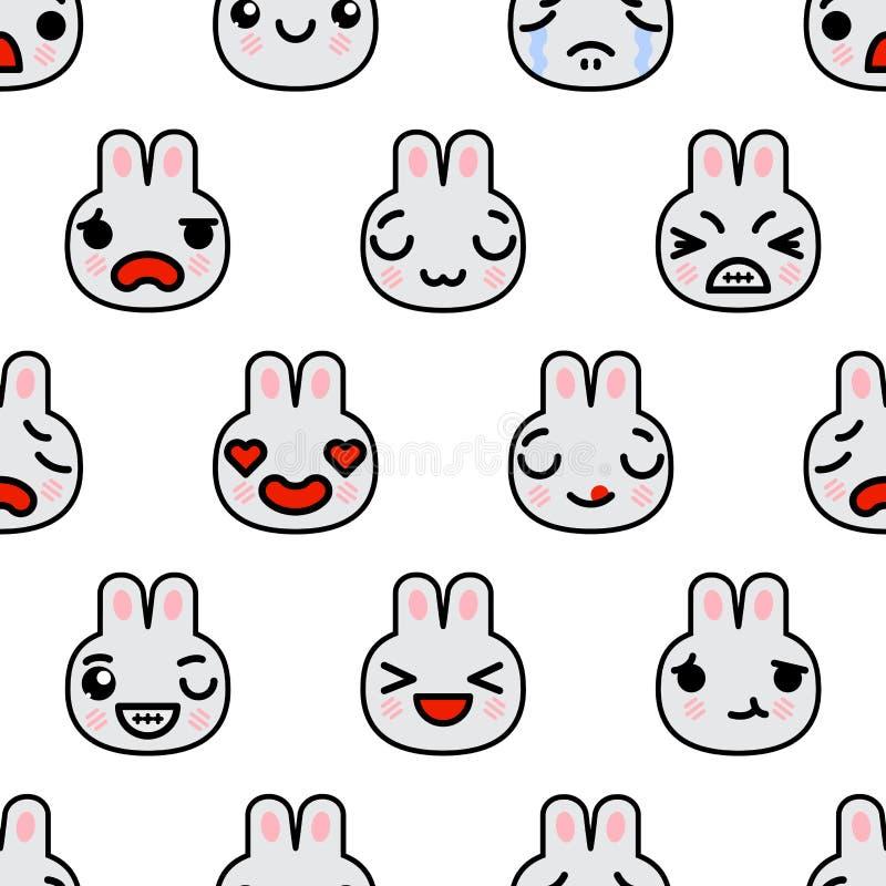 Modello senza cuciture con l'illustrazione sveglia del fumetto di vettore dei conigli di emoji di kawaii illustrazione di stock