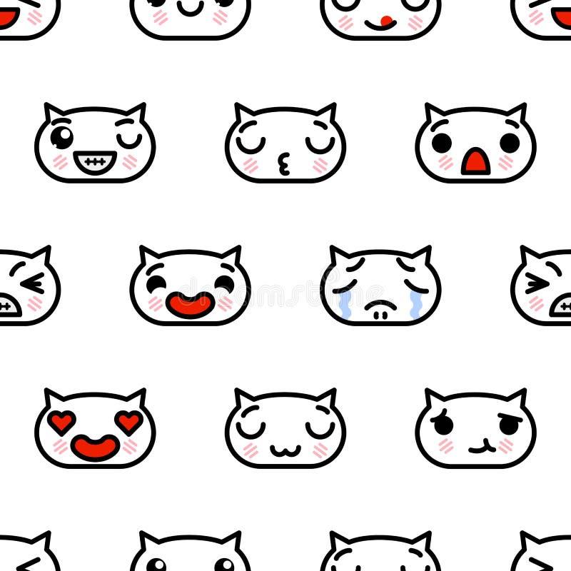 Modello senza cuciture con l'illustrazione sveglia del fumetto di vettore dei gattini di emoji di kawaii illustrazione di stock