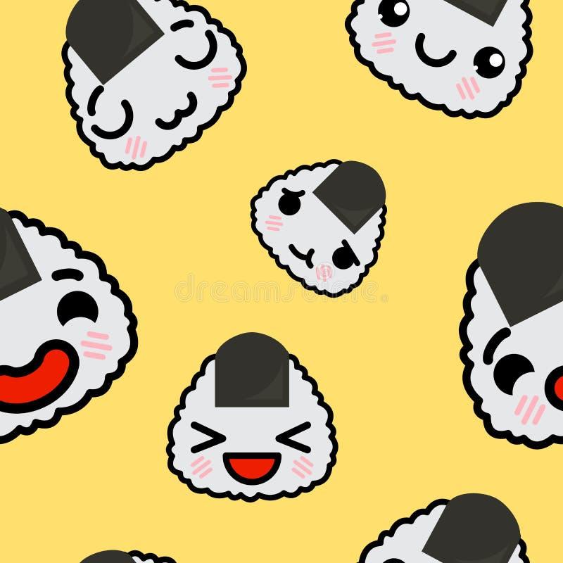 Modello senza cuciture con l'illustrazione sveglia del fumetto di vettore di onigiri di emoji di kawaii royalty illustrazione gratis