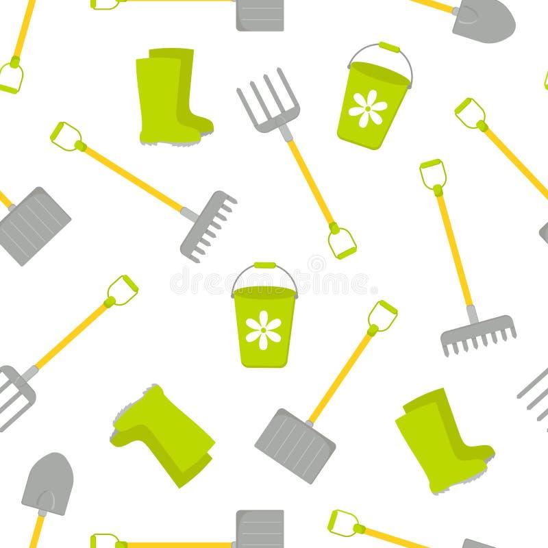 Modello senza cuciture con l'insieme di vettore degli strumenti per fare il giardinaggio Accumulazione di giardinaggio illustrazione vettoriale