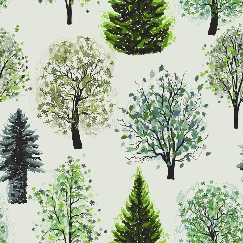 Modello senza cuciture con l'insieme verde deciduo e conifero degli alberi illustrazione di stock