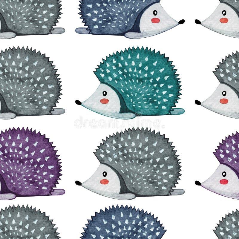 Modello senza cuciture con l'istrice llazy Animale pigro watercolor illustrazione vettoriale