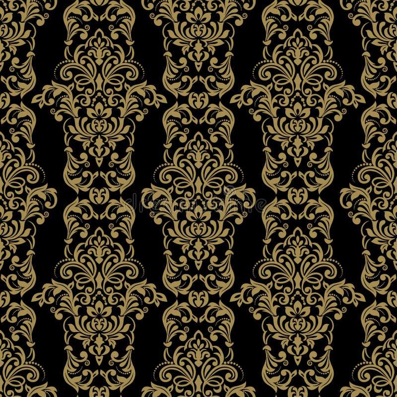 Modello senza cuciture con l'ornamento del damasco Elemento senza cuciture floreale del reticolo dell'annata di vettore Il damasc royalty illustrazione gratis