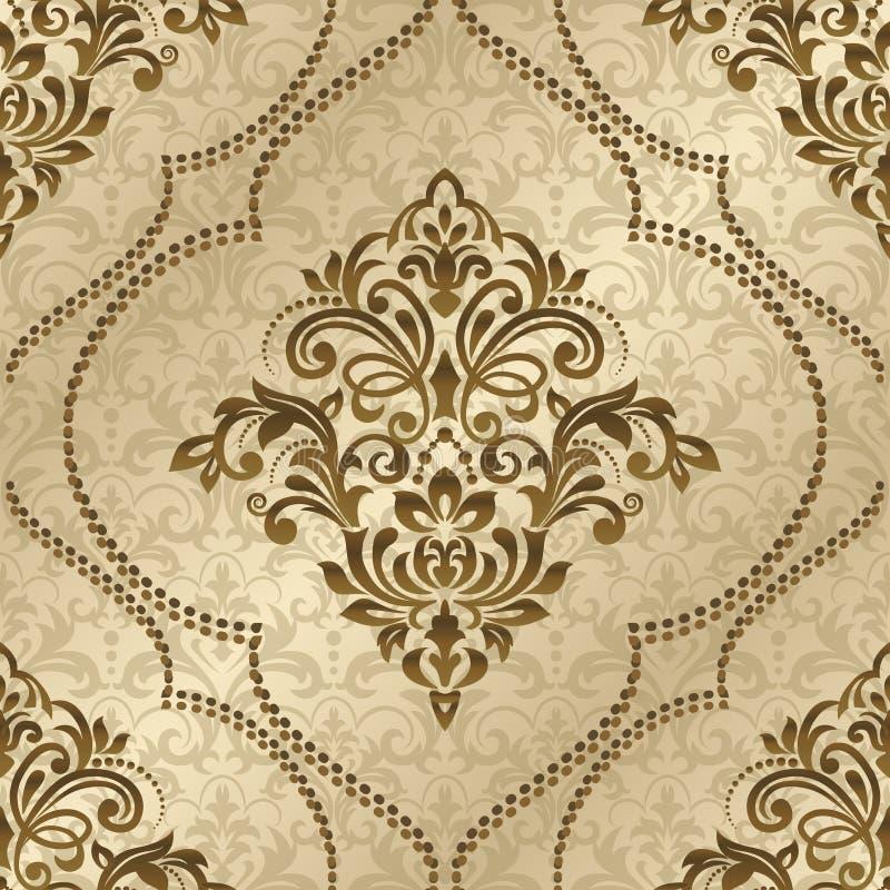 Modello senza cuciture con l'ornamento del damasco Mare floreale d'annata di vettore illustrazione di stock