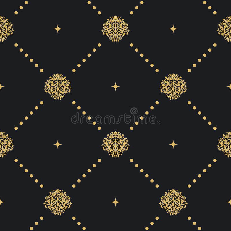 Modello senza cuciture con l'ornamento dorato illustrazione vettoriale