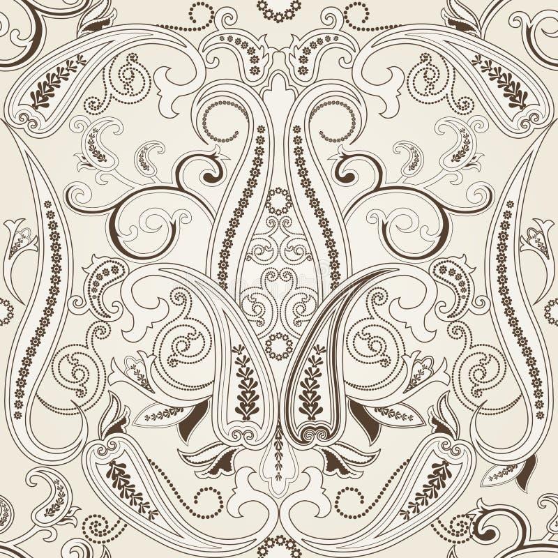 Modello senza cuciture con l'ornamento a filigrana orientale di paisleyTraditional illustrazione di stock