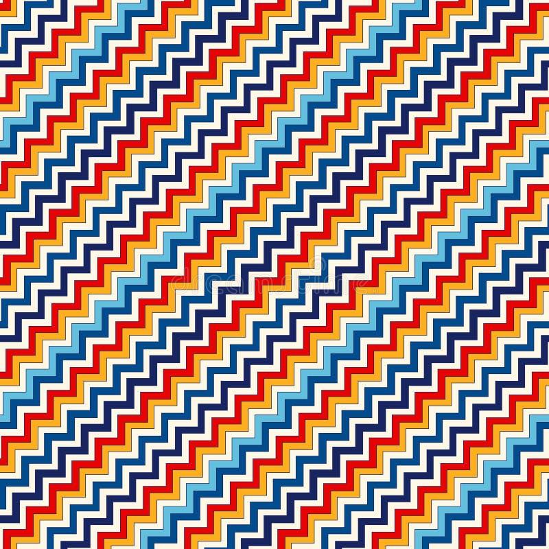 Modello senza cuciture con l'ornamento geometrico simmetrico La diagonale luminosa di colori di zigzag di Chevron allinea il fond royalty illustrazione gratis