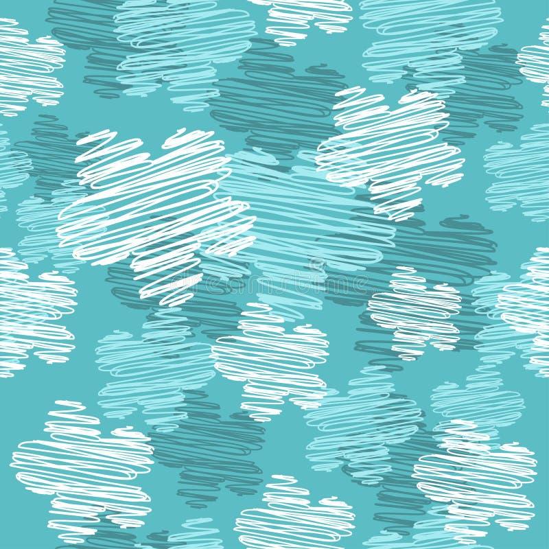 Modello senza cuciture con l'ornamento semplice stilizzato delle linee fendentesi nodose Fondo irregolare d'annata blu con bianco illustrazione di stock