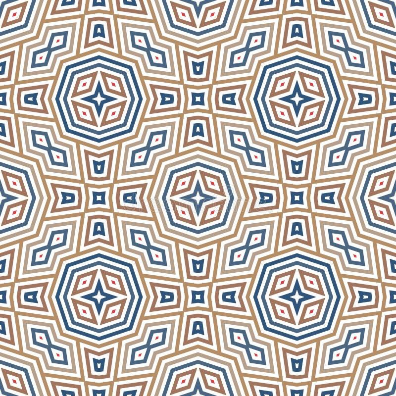 Modello senza cuciture con l'ornamento simmetrico Figure geometriche estratto su fondo bianco Motivi etnici e tribali illustrazione di stock