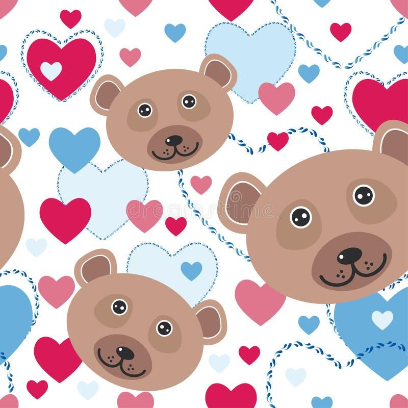Modello senza cuciture con l'orso sveglio divertente del fronte, rosa, cuore blu sopra illustrazione vettoriale