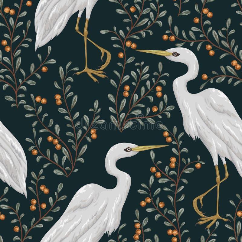 Modello senza cuciture con l'uccello dell'airone e la pianta del mirtillo rosso Fondo botanico rustico royalty illustrazione gratis