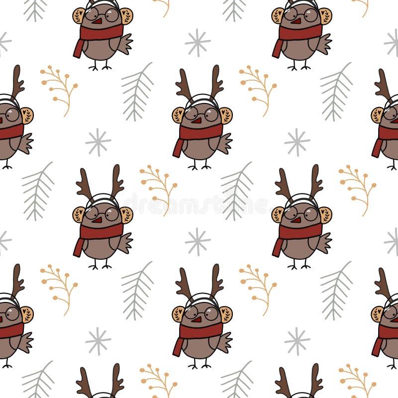 Modello senza cuciture con l'uccello disegnato a mano del fumetto in vestiti e nei rami Modello degli animali di Natale Illustraz illustrazione vettoriale