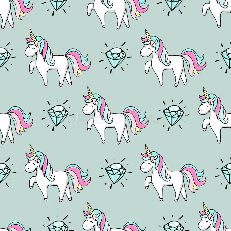 Modello senza cuciture con l'unicorno ed il diamante disegnati a mano illustrazione di stock