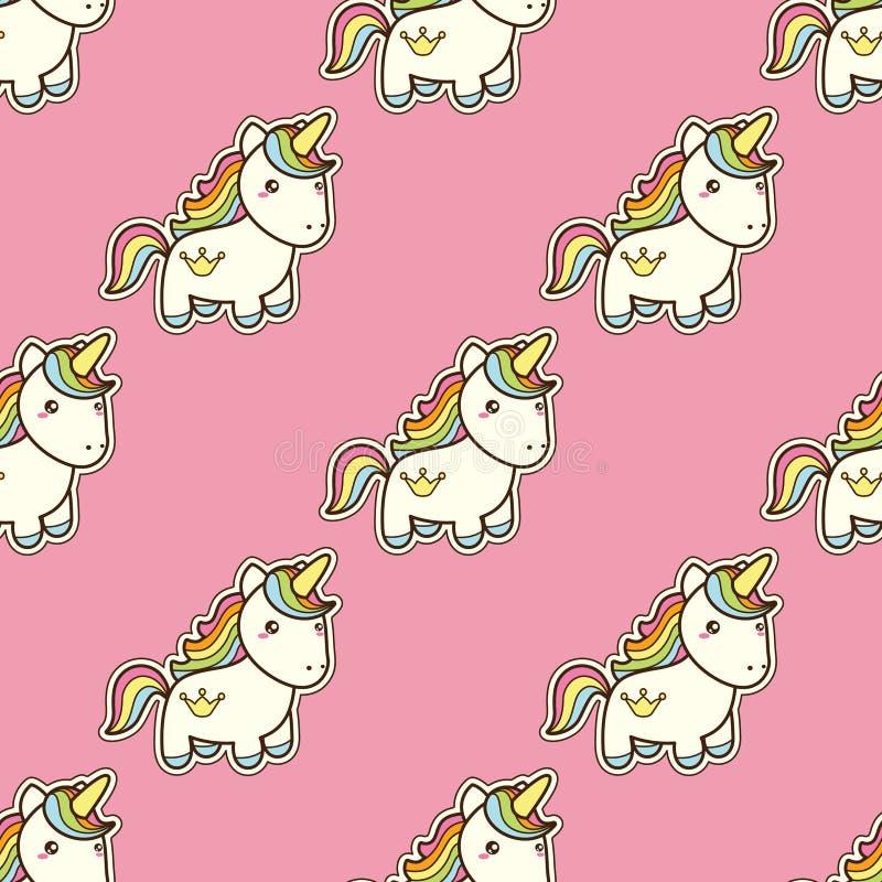 Modello senza cuciture con l'unicorno nello stile giapponese di kawaii isolato su fondo rosa royalty illustrazione gratis