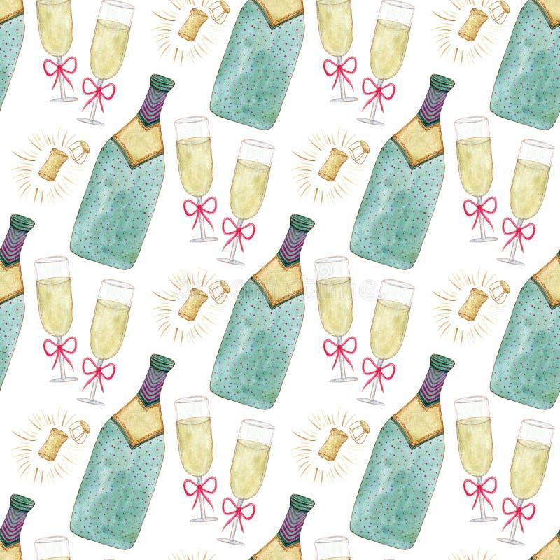 Modello senza cuciture con la bottiglia ed il vetro del champagne Fondo di celebrazione dell'acquerello Progettazione del contest royalty illustrazione gratis