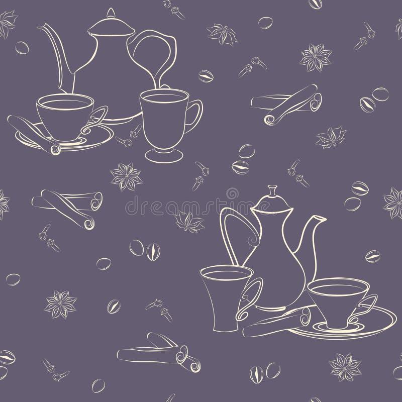Modello senza cuciture con la caffettiera, le tazze, la cannella, i chicchi di caffè, l'anice ed i chiodi di garofano royalty illustrazione gratis
