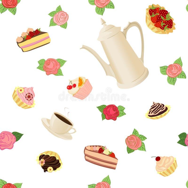 Modello senza cuciture con la caffettiera, le tazze, i dolci e le rose illustrazione vettoriale