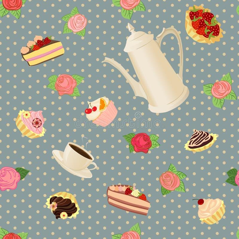 Modello senza cuciture con la caffettiera, le tazze, i dolci e le rose illustrazione di stock