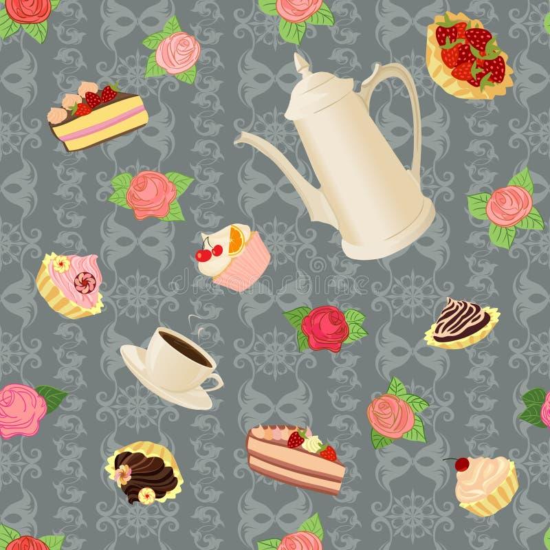 Modello senza cuciture con la caffettiera, le tazze, i dolci e le rose royalty illustrazione gratis