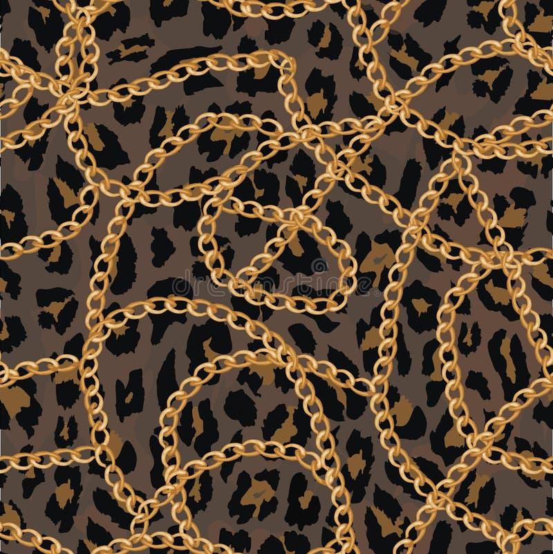 Modello senza cuciture con la catena dell'oro sulla pelle, sulla cinghia e sulle perle di lepard Illustrazione royalty illustrazione gratis