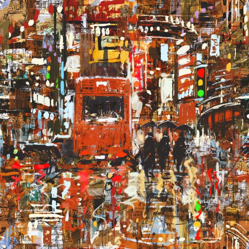 Modello senza cuciture con la città urbana variopinta illustrazione di stock
