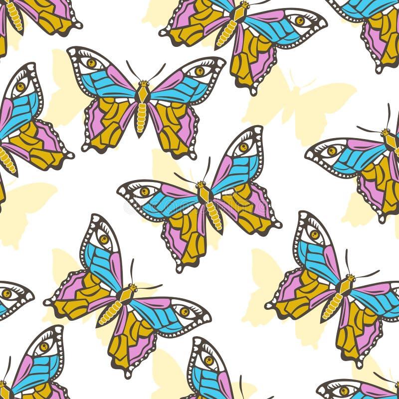 Modello senza cuciture con la farfalla esoterica su un fondo bianco illustrazione di stock