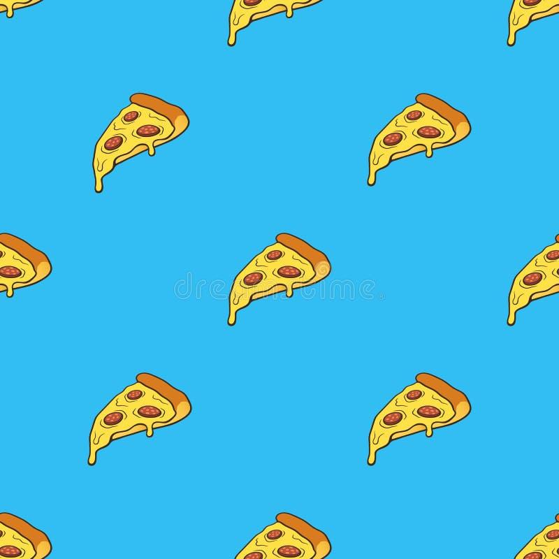 Modello senza cuciture con la fetta della pizza con il contorno nello stile di Pop art illustrazione di stock