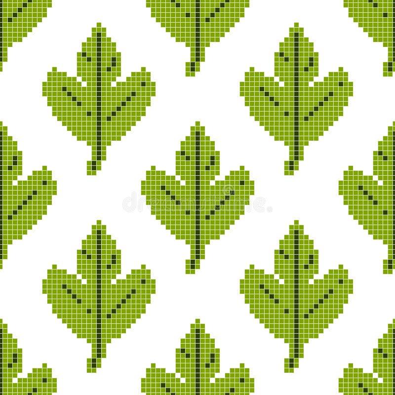 Modello senza cuciture con la foglia verde su un fondo bianco Arte del pixel, illustrazione di vettore Retro gioco di stile royalty illustrazione gratis