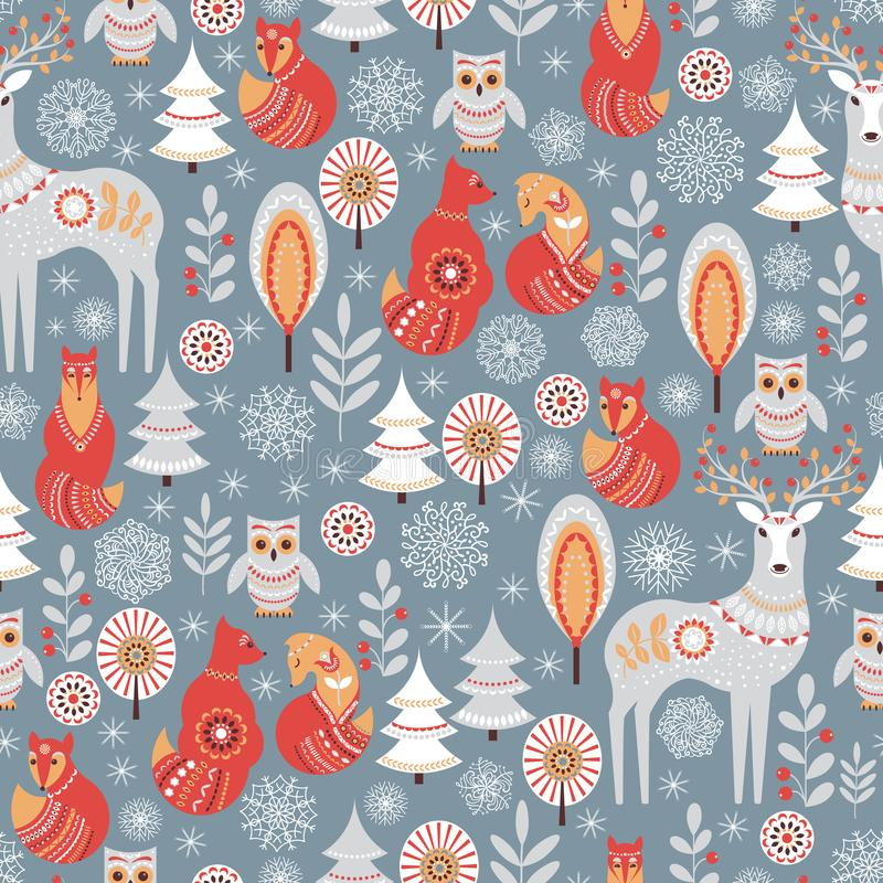 Modello senza cuciture con la foresta, i cervi, il gufo ed il Fox di inverno illustrazione di stock