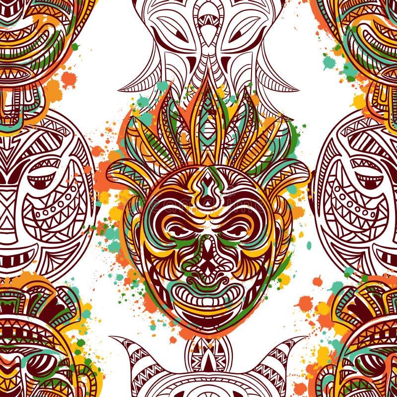 Modello senza cuciture con la maschera tribale africana con l'ornamento geometrico etnico illustrazione di stock