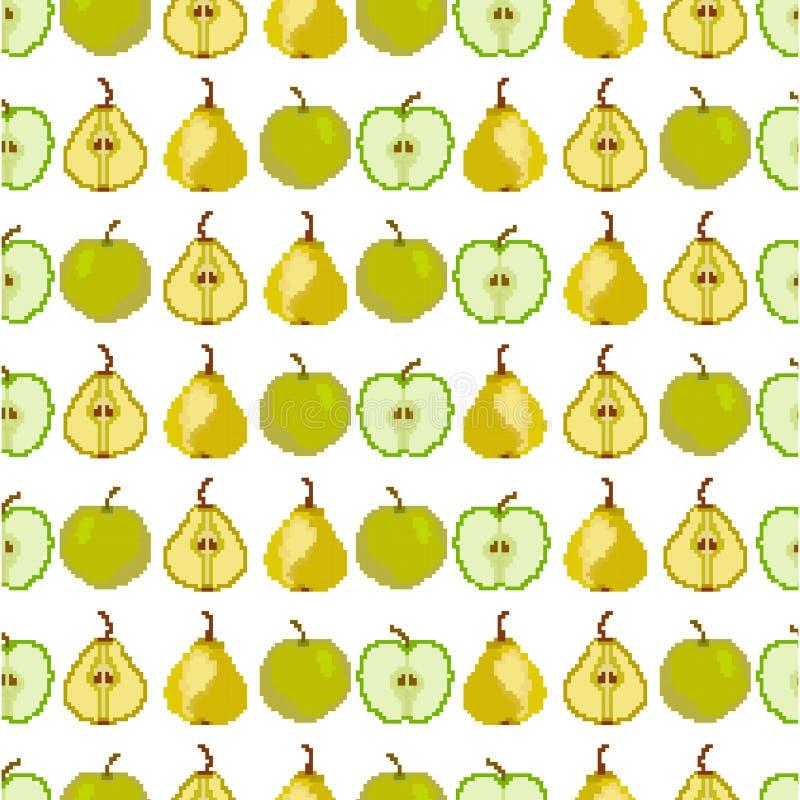 Modello senza cuciture con la mela e la pera pixel ricamo Vettore illustrazione vettoriale