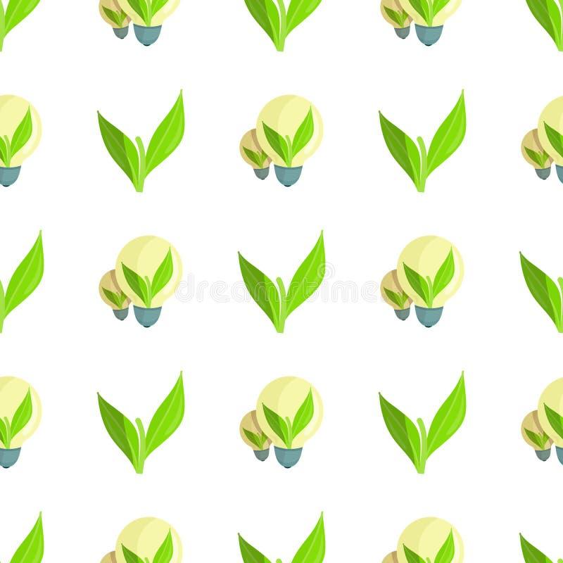 Modello senza cuciture con la pianta verde e le lampadine royalty illustrazione gratis
