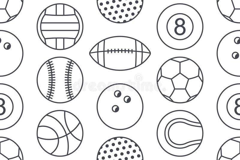 Modello senza cuciture con la raccolta delle palle di sport illustrazione vettoriale