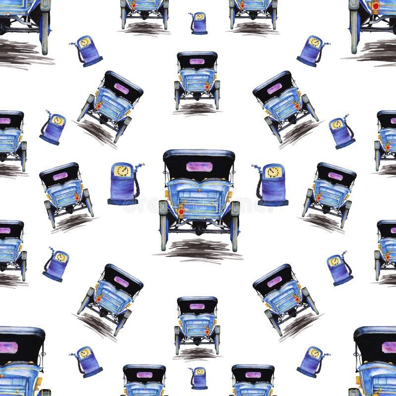 Modello senza cuciture con la retro automobile in tonalità del blu illustrazione di stock