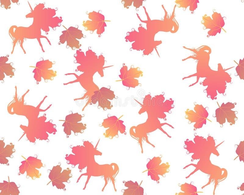 Modello senza cuciture con la siluetta arancio degli unicorni e delle foglie di viburno isolati su fondo bianco nel vettore Stamp illustrazione vettoriale