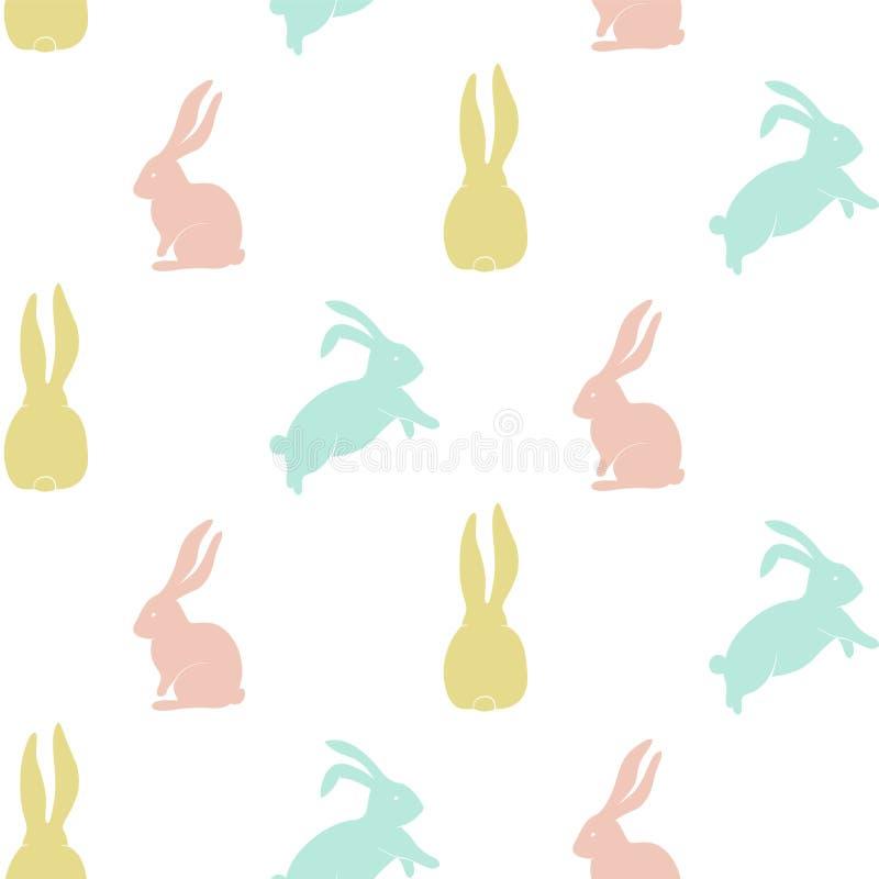 Modello senza cuciture con la siluetta sveglia del coniglietto royalty illustrazione gratis
