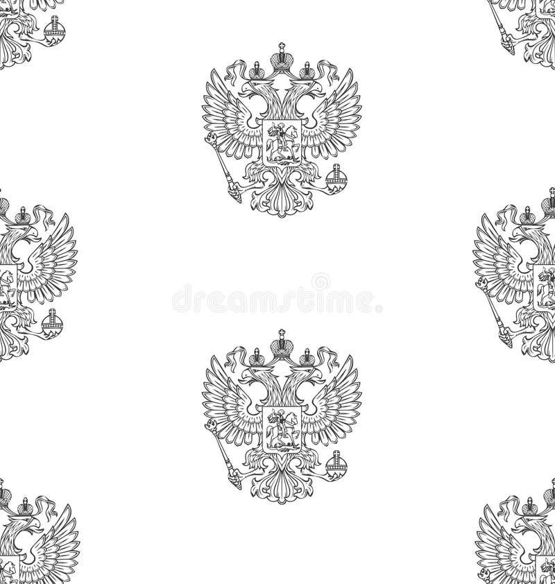 Modello senza cuciture con la stemma descritta Russo immagine stock