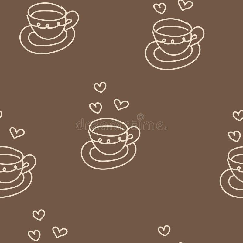 Modello senza cuciture con la tazza ed i cuori di caffè Vettore illustrazione vettoriale