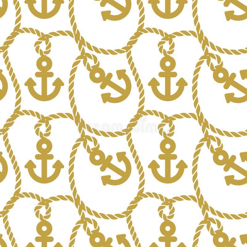 Modello senza cuciture con le ancore Fondo in corso del tema marino illustrazione vettoriale