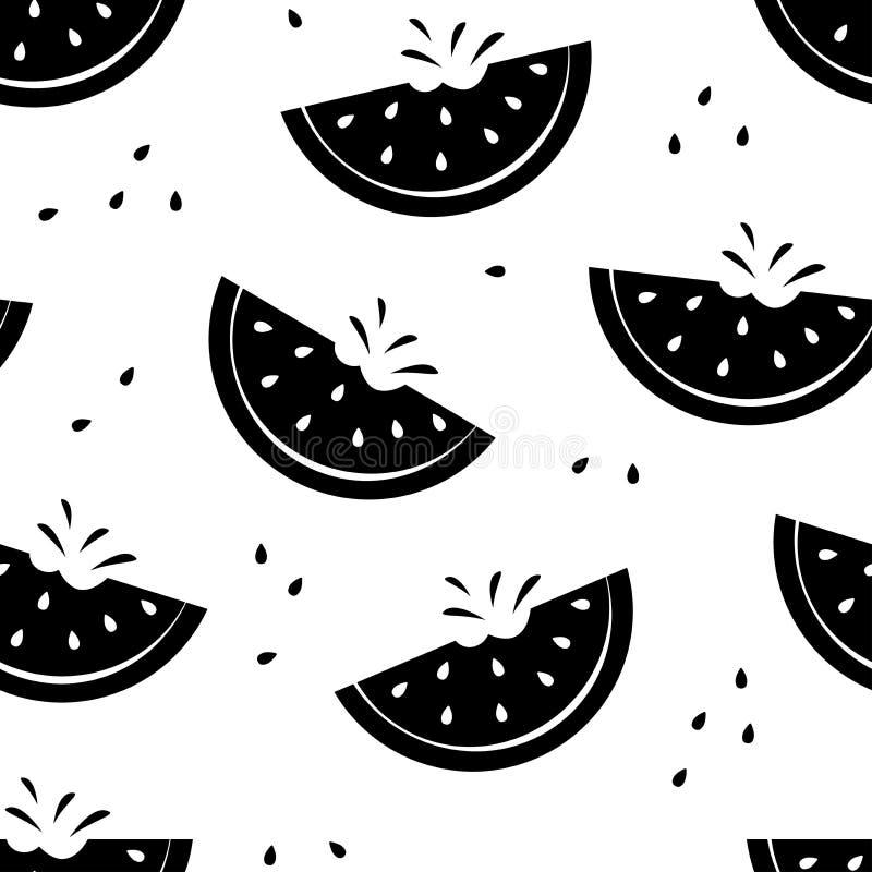 Modello senza cuciture con le angurie della fetta, progettazione in bianco e nero di estate Vettore illustrazione di stock
