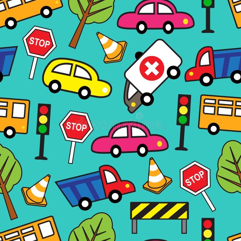 Modello senza cuciture con le automobili ed i segnali stradali royalty illustrazione gratis