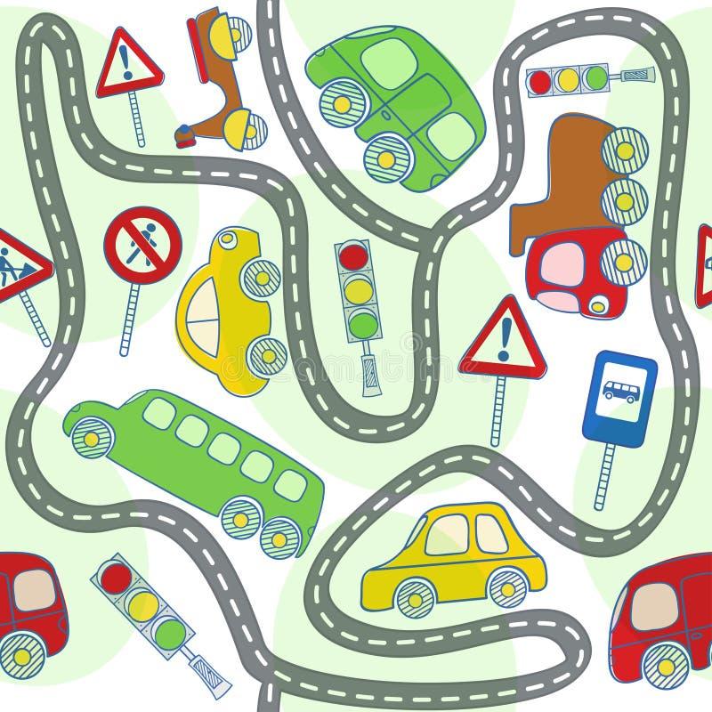 Modello senza cuciture con le automobili ed i segnali stradali illustrazione vettoriale