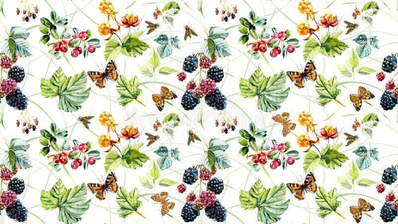 Modello senza cuciture con le bacche e gli insetti selvaggi Illustrazione dipinta a mano dell'acquerello illustrazione vettoriale