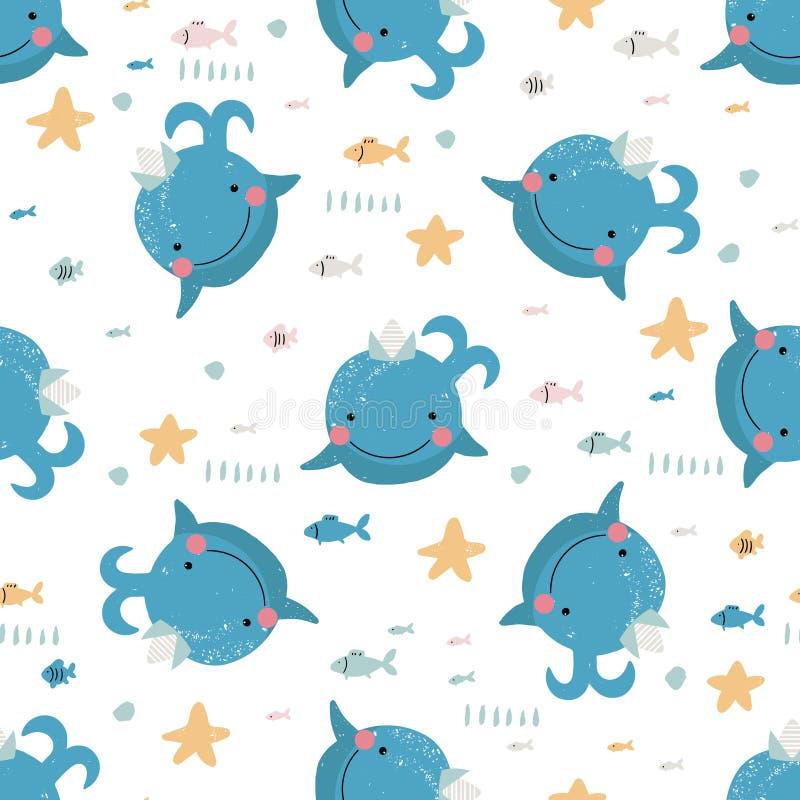 Modello senza cuciture con le balene blu sveglie illustrazione vettoriale