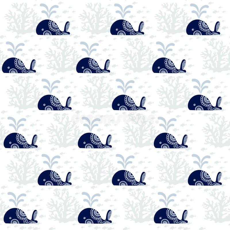 Modello senza cuciture con le balene sveglie fotografia stock libera da diritti