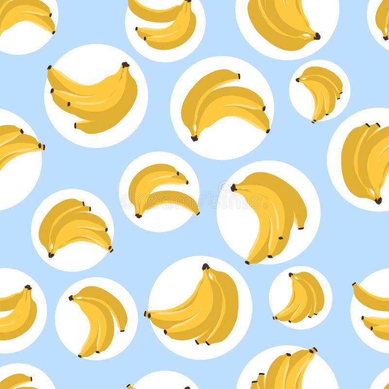 Modello senza cuciture con le banane Illustrazione di vettore Banana gialla su fondo blu Stampa del tessuto royalty illustrazione gratis